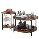 Homfa 2X Beistelltisch Couchtisch Kaffetisch Satztisch rund Vintage Set...