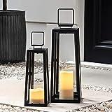 Lights4fun 2er Set schwarze LED Metall Laternen Outdoor batteriebetrieb