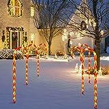 GIGALUMI LED Zuckerstangen 4er Set beleuchtete Zuckerstangenstäbe LED-Gartenleuchtstäbe...