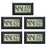 5-Pack LCD Digital Thermometer Hygrometer, Mini Digital Temperaturmesser Feuchtigkeitsmesser für...