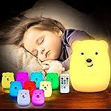 TOPERSUN LED Nachtlicht Kinder 9 Farben Fernbedienung Nachtlampe Baby Nachtleuchte aus Silikon mit...