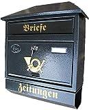 Groer Briefkasten / Postkasten XXL Anthrazit mit Zeitungsrolle Zeitungsfach Schrgdach Trapezdach