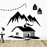 Mountain and house wall decals living room home decoration company school office decorative...