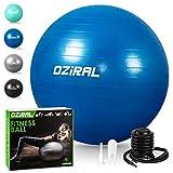 Oziral Gymnastikball Sitzball 55 cm, Extra Dicker Anti-Burst Pilates Ball inkl Luftpumpe,Robuster...