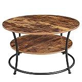VASAGLE Couchtisch rund, Wohnzimmertisch, Sofatisch mit Ablage, einfacher Aufbau, Metall,...