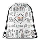 Handgezeichnetes Set von Lebensmittel-Ikonen Set von verschiedenen _ 24895 Kordelzug Rucksack Tasche...