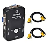 2 Port USB KVM Switch Box VGA + 2Stk Kabel für PC Monitor / Tastatur / Maus-Steuerung (2 Port USB...