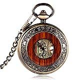 yisuya Holz-Taschenuhr, durchsichtige Rückseite, sichtbares Uhrwerk, Mechanische Uhr, Stil: Vintage...