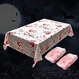 3pcs Halloween Tischtuch blutige gruselige Set, Kunststofftischdecke mit Blutspritzern, Halloween...