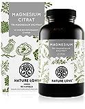 NATURE LOVE® Premium Magnesiumcitrat - 2250mg (360mg elementar) Magensium je Tagesdosis - 180...