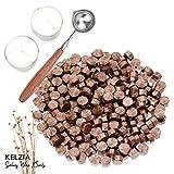 Kelzia Veganes Siegelwachs - Achteckige Siegelwachsperlen mit 2 Teelichtern & 1 Schmelzlöffel, ohne...