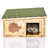 Skojig© XL Igelhaus aus natürlichem Holz & integriertem Raubtierschutz - Igelpension Igelhütte...