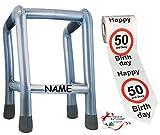 Unbekannt 2 TLG. Set: __ Gehhilfe - ( Aufblasbar ) incl. Name + Toilettenpapier Rolle -  50....