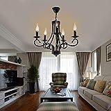 Iglobalbuy Vintage Eisen Kronleuchter 5 Kerze Stil Decke Pendelleuchte für Wohnzimmer Esszimmer