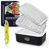 KitchenBe1 - Reibe Edelstahl und Box mit Deckel & Schäler, Aufbewahrungsbox mit schützenden...