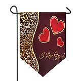 Oarencol Valentinstagsflagge mit rotem Herz und goldfarbener Blume, doppelseitig, für den...