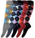 6 Paar Reitstrümpfe - Kniestrümpfe mit Karomuster für Damen (Mehrfarbig, 35-38)
