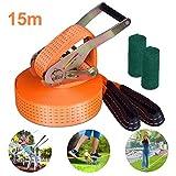 Yuanj Slacklines, Slackline Kinder Set + Baumschutz +Ratsche, 15m Slackline-Set für Kinder &...