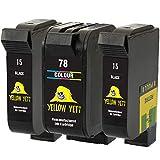 Yellow Yeti Ersatz für HP 15 78 Druckerpatronen (2 Schwarz, 1 Farbe) kompatibel für HP Deskjet...