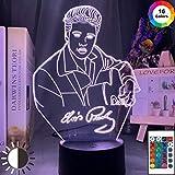 3D Illusion Nachtlicht Kind Nachtlicht Elvis Bild Nachtlicht LED Farbwechsel Nachtlicht Touch Remote...