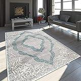 Paco Home Orient Teppich Modern 3D Effekt Meliert Schimmernd Ornamente In Grau Türkis,...