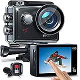 AC920 Action cam Touchscreen-Actionkamera 4K 60FPS mit 8-fachem Zoom, Doppelmikrofon, Fernbedienung,...