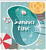 Shower Curtain 72x72 Inches Pool Party Bath Curtain, Top View Illustrated Swimming Pool Fun Summer...