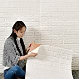 DHOUTDOORS 10 Tlg Tapete Selbstklebend Wandpaneele Weiß Steinoptik Ziegelstein Brick Muster 3D...