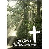 8 x Beileidskarte mit Umschlag/Motiv In stiller Anteilnahme Wald Lichtung/Beerdigung, Trauer,...