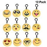 Emoji Schlüsselanhänger Plüsch [12 Pack, 6 cm] Mitgebsel | Kindergeburstagen | Gastgeschenke für...