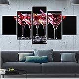 CoorArt Bilder Wandbild 5 Teilig Kunstdruck modern Wandbilder Wanddekoration Rotweinglas - 200x100cm...