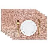 Olrla Roségold tischsets Sets von 6, PVC tischsets für Restaurant, Cafe und heim...