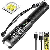 LED Taschenlampe 4000 Lumen, XHP50 Wiederaufladbare Wasserdichte Taktische Taschenlampe Zoombar...
