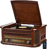 Nostalgie Holz Musikanlage | Bluetooth | Kassettendeck | Kompaktanlage | Retro Stereoanlage |...