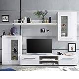 Stella Trading Wohnwand Weiß Hochglanz, Wohnzimmerschrank, Enrique 1