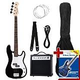 Rocktile Groover's Pack PB E-Bass Komplettset Schwarz (Verstrker, Tasche, Kabel, Gurt, Ersatzsaiten...