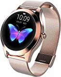 Smartwatch Rosegold Damen Rund Fitness Armband Elegant Aktivitätstracker IP68 Wasserdicht...