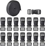15 Sets aus schwarzem Kunststoff 1 Zoll Flachsicherheitsschnallen und Tri-Glide Slides mit 1 Rolle...