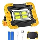 30W LED Arbeitsstrahler, T-SUN Baustrahler Akku Solar Camping Licht Arbeitsleuchte USB...