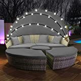 Swing & Harmonie Polyrattan Sonneninsel mit LED Beleuchtung + Solarmodul inklusive Abdeckcover...