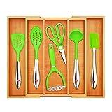 Besteckkasten aus Holz Schubladeneinsatz ausziehbar Bambus 33-58cm x 45,5cm x 7cm Besteck...