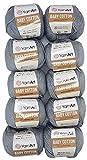10 x 50g Strickwolle YarnArt Baby Cotton mit 50% Baumwolle, 500 Gramm Wolle einfarbig (grau 452)