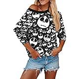TWIFER Halloween Kostüme Party Skew Neck Pumpkin Damen Sweatshirt Jumper Pullover Sweater