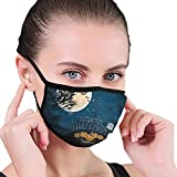 Architd Wide Poster für Halloween von Bäumen Baumwolle Gesichtsmaske Staubfilter Masken...