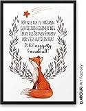 FUCHS Hr nie auf zu trumen ABOUKI Kunstdruck - ungerahmt - Geschenk-Idee Taufe Geburt Geburtstag...