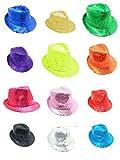 Party-Factory-Ladenburg Pailletten Hut Glitzer Damen & Herren Designer 12 Farben (Neongrün)