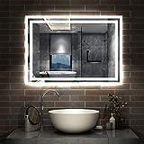 AicaSanitär LED Spiegel Bad 80×60cm Badspiegel mit Beleuchtung Lichtspiegel Badezimmerspiegel...