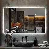 RSTO Badspiegel Wandspiegel LED mit Touch-Schalter + Anti-Fog + Zeit/Temperatur, IP44, 3.6W / M,...