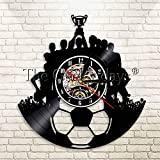 JNZART Fuball Vinyl Rekord Wanduhr Dekor Fuball Team Champion Wandkunst Sport Vintage Vinyl Rekord...