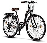 Licorne Bike Stella (Schwarz) 28 Zoll Damenfahrrad,CTB ab 160 cm, Fahrrad-Licht, Shimano 21...